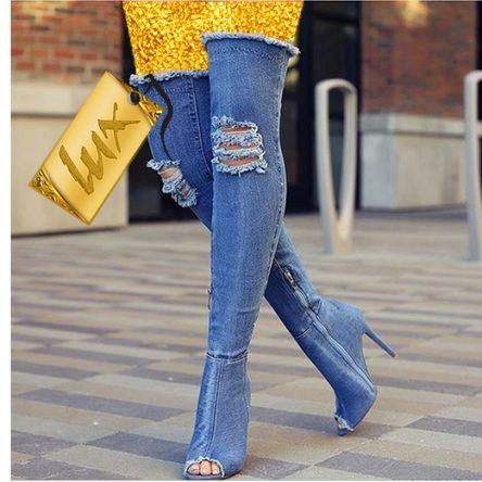 بوت زنانه پاشنه بلند جین